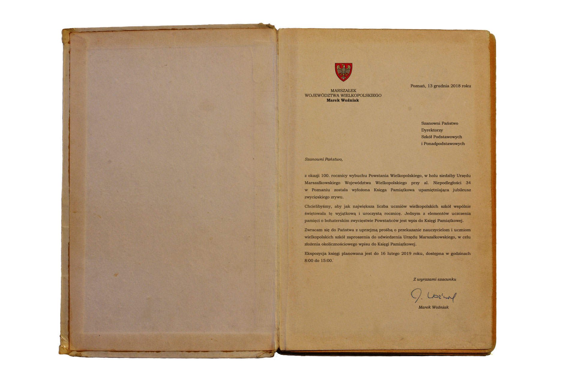 Księga Pamiątkowa z okazji 100. rocznicy wybuchu Powstania Wielkopolskiego