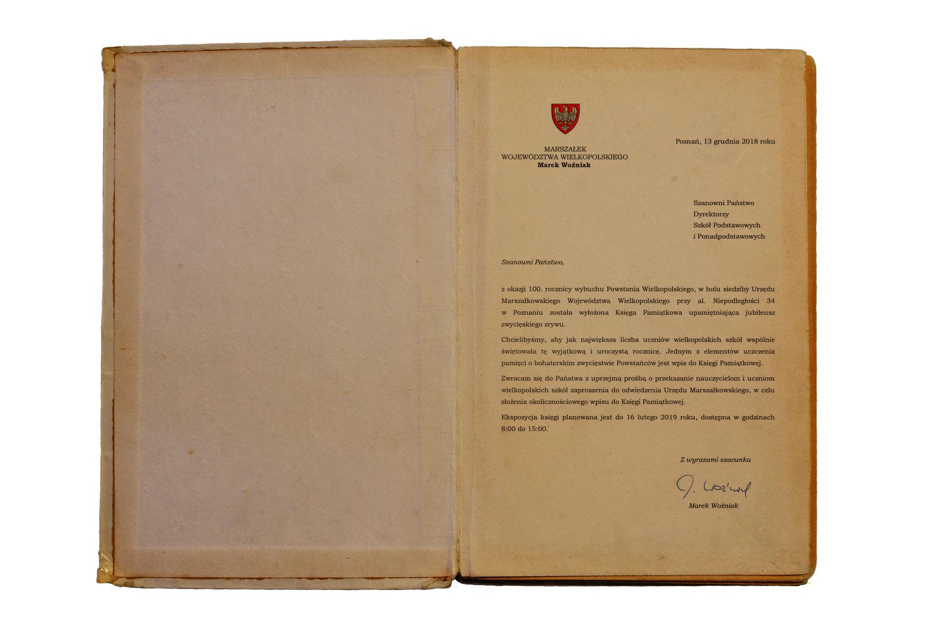 Księga Pamiątkowa zokazji 100. rocznicy wybuchu Powstania Wielkopolskiego